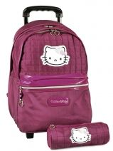 Sac A Dos A Roulettes  + Trousse Hello kitty Rose swag HPE22011