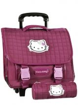 Cartable A Roulettes + Trousse Hello kitty Rose swag HPE23015
