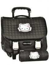 Cartable A Roulettes + Trousse Hello kitty Noir swag HPE23015