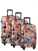 Lot De Valise 4 Roues Rigide Travel Multicolore print shinny SG452706