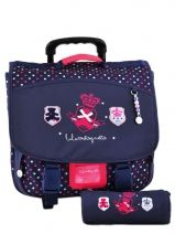 Cartable A Roulette 2 Compartiments + Trousse Lulu castagnette Bleu royal college LWB13019