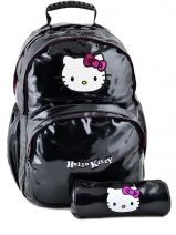 Sac A Dos 2 Compartiments + Trousse Hello kitty Noir classic dot's HPR22074