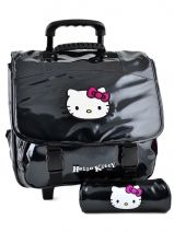 Cartable A Roulettes+trousse Hello kitty Noir classic dot's HPR23070