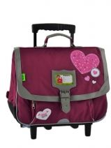 Cartable A Roulettes 2 Compartiments Tann's Rose collector coeur COFTCA38