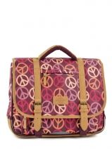 Cartable 2 Compartiments Tann's Rose globetrotter peace/love GTFCA38