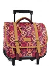 Cartable A Roulettes 2 Compartiments Tann's Rose globetrotter peace/love GTFTCA38