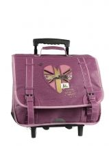 Cartable A Roulettes 2 Compartiments Ikks Violet rock LONTCA38