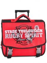 Cartable A Roulettes 2 Compartiments Stade toulousain Rouge red and black 123T203R