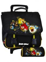 Cartable A Roulettes 2 Compartiments + Trousse Angry birds Noir target AGU23070