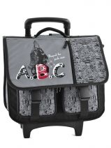 Cartable A Roulettes 2 Compartiments Miniprix Gris abc 8202