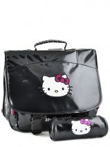 Cartable 2 Compartiments + Trousse Assortie Hello kitty Noir classic dot's HPR23081