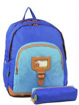 Backpack 3 Compartments With Free Pencil Case Tann's Blue kid classic 4CLSDL