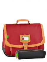 Satchel 2 Compartments With Free Pencil Case Tann's Red kid classic 14CA38