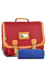 Satchel 2 Compartments With Free Pencil Case Tann's Red kid classic 14CA41