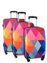 Lot De 3 Valises Rigides Print Shinny Travel Multicolore print shinny 1536-LOT
