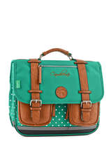 Satchel 2 Compartments Cameleon Green vintage VINCA35