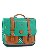Cartable 2 Compartiments Cameleon Vert vintage VINCA38