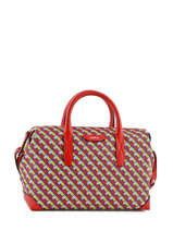 """Tote Iconic Lancel Red iconic Celebrating 140 years of daring style and innovation and inspired by the Maison codes and archives, Iconic by Lancel is a young, modern line with """"revolving L"""" pattern.This collection made of different eclectic creations illustrate the Lancel savoir-faire and excellence."""