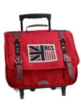 Cartable A Roulettes 2 Compartiments Ikks Rouge uk 5UKTCA38