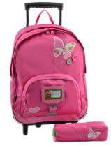 Sac A Dos A Roulettes 2 Comp + Trousse Offerte Tann's Rose butterfly 5BUTSDL