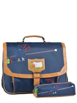 Cartable 2 Compartiments + Trousse Offerte Tann's Bleu baseball 5BACA38