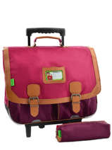 Cartable A Roulettes 2 Comp + Trousse Offerte Tann's Rose kid classic 5CLTCA41
