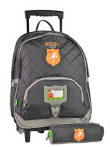 Wheeled Backpack With Free Pencil Case Tann's Gray rugby 5RUTSDL