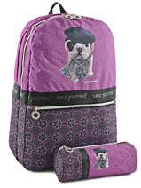 Backpack 2 Compartments Teo jasmin Violet dog story TEL22074