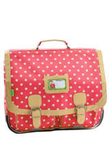 Cartable 2 Compartiments Tann's Rouge heritage pois 4POCA41
