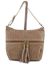 Shoulder Bag Velvet Stampa Leather Milano Beige velvet stampa VS151104