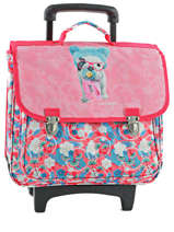 Cartable A Roulettes 2 Compartiments Teo jasmin Pink teo kawai TEN13019