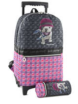 Sac A Dos A Roulettes 2 Compartiments Teo jasmin Gris teo jockey TEQ22080