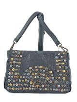 Shoulder Bag Studs Leather Basilic pepper Gray studs 5780