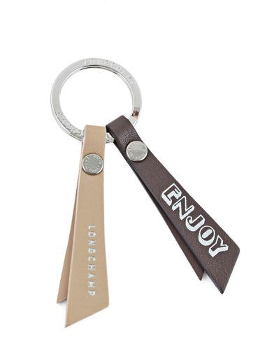 Longchamp Le pliage cuir Porte clés Beige