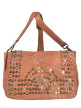Shoulder Bag Studs Leather Basilic pepper Brown studs 5780
