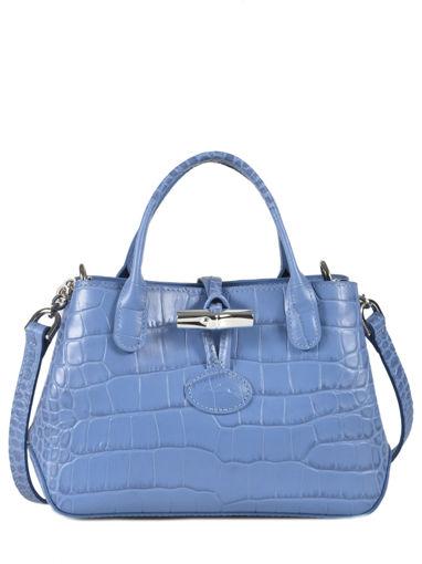Longchamp Roseau Croco Messenger bag Blue