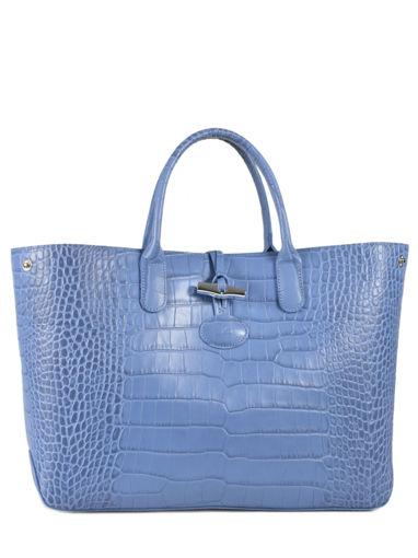 Longchamp Roseau Croco Sac porté main Bleu