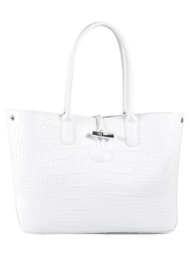 Longchamp Roseau Croco Messenger bag White