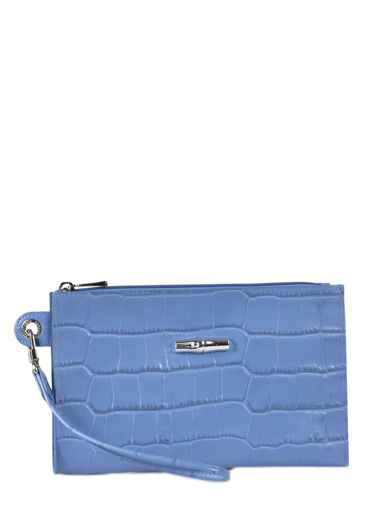 Longchamp Roseau Croco Clutch / cosmetic case Blue