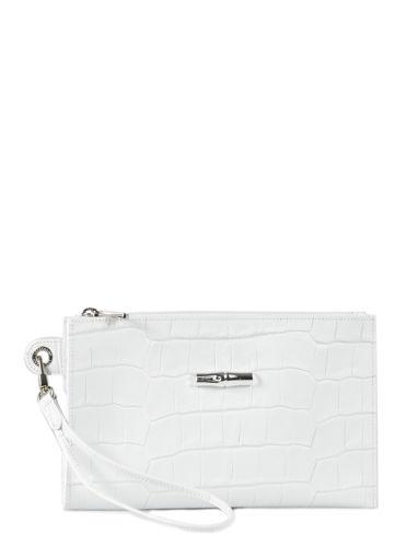 Longchamp Roseau Croco Pochette/trousse Blanc
