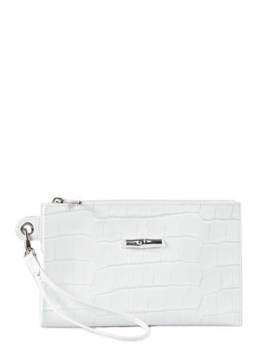 Longchamp Roseau Croco Clutch / cosmetic case White