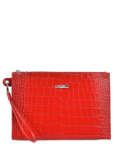 Longchamp Roseau Croco Clutch / cosmetic case Red