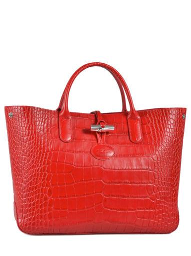 Longchamp Roseau Croco Sac porté main Rouge