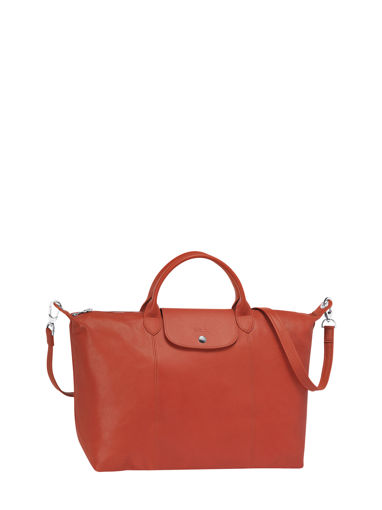 Longchamp Le pliage cuir Sac porté main Rouge