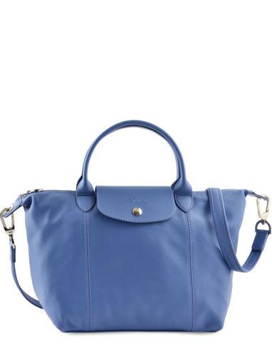 Longchamp Le pliage cuir Sac porté main Bleu