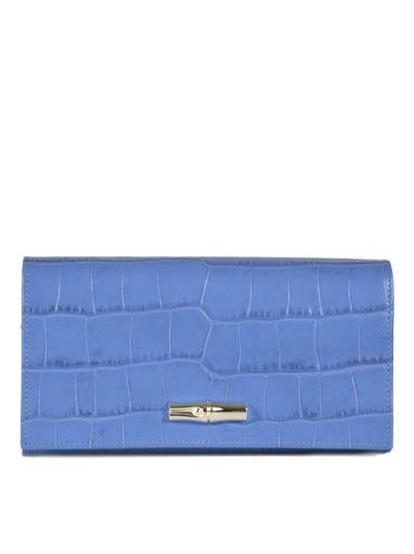 Longchamp Roseau Croco Portefeuille Bleu