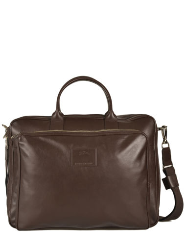 Longchamp Baxi cuir Briefcase Brown