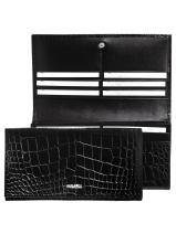 Longchamp Roseau Croco Wallet Black