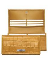 Longchamp Roseau Croco Wallet Brown
