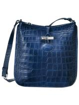Longchamp Roseau Croco Messenger bag Blue